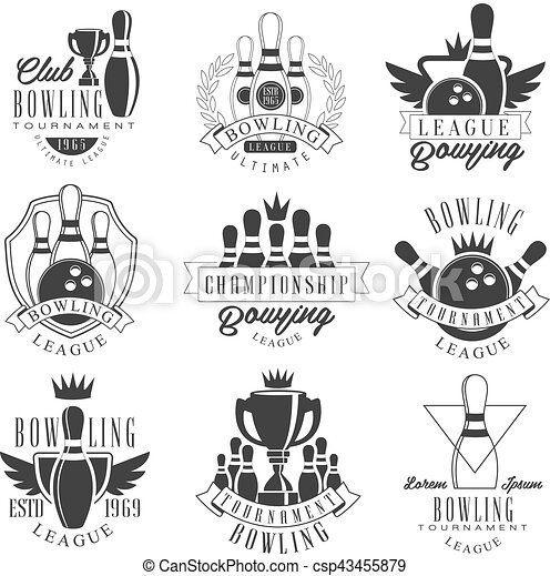 bowling league tournament black and white sign design templates with text and tools silhouettes collection of monochrome vector emblems for bowling alley