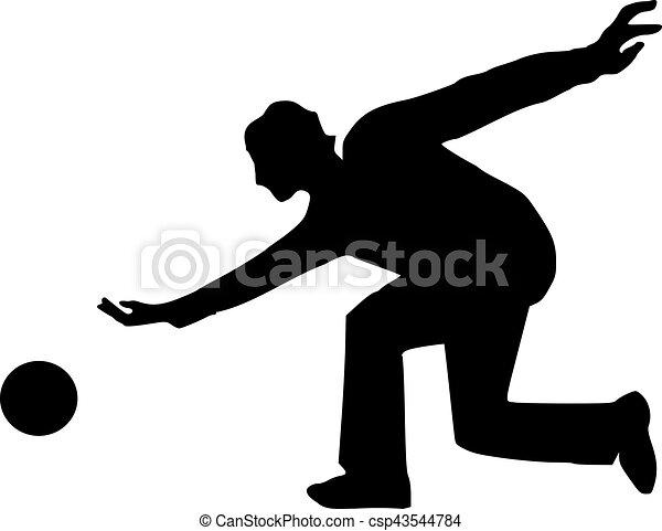 bowling man silhouette