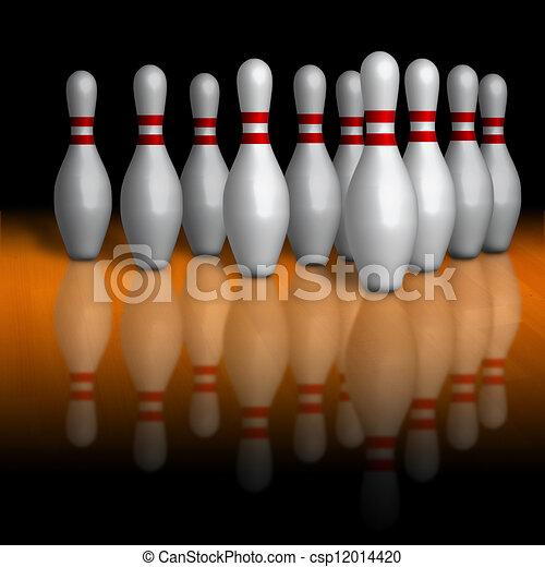 Bowling pins on wooden lane - csp12014420