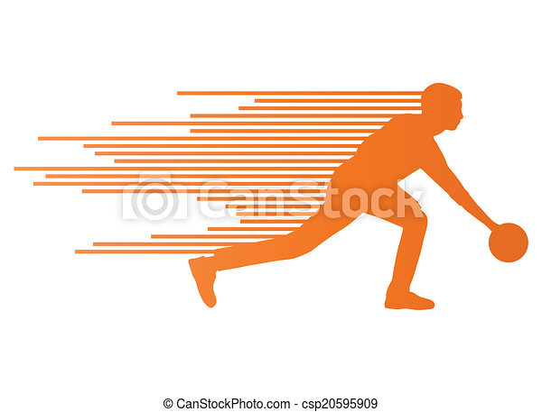 Bowling player silhouettes vector background concept - csp20595909