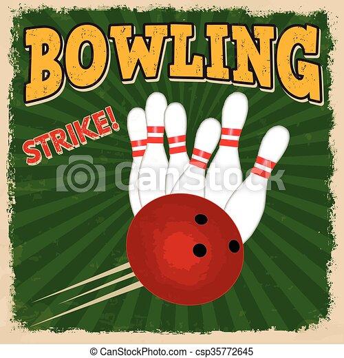 Bowling retro poster - csp35772645