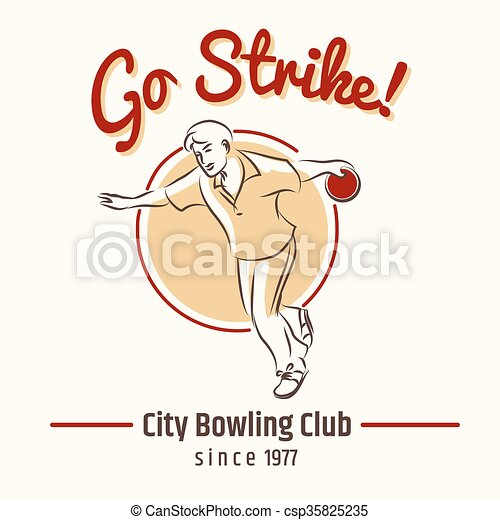 Bowling retro poster - csp35825235
