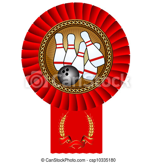 bowling skittles ball gold medal red tape - csp10335180
