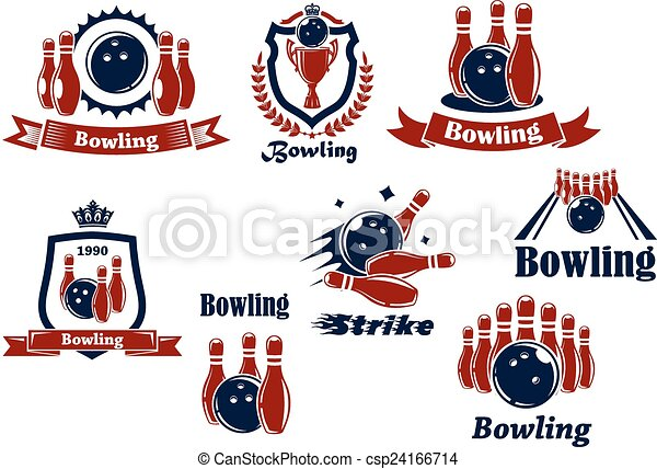 Bowling sports emblems and icons - csp24166714