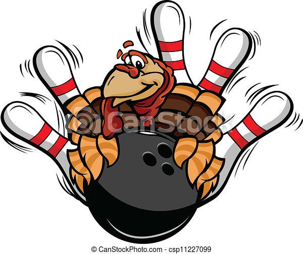Bowling Thanksgiving Holiday Turkey Cartoon Vector Illustration - csp11227099