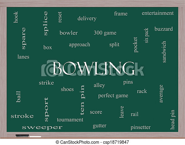 Bowling Word Cloud Concept on a Blackboard - csp18719847