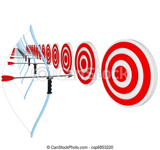 Bows and Arrows Pointing at Bulls-Eyes in Competition - csp6853220