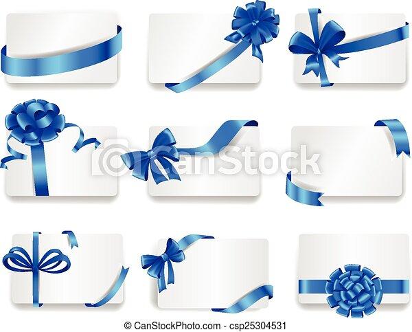 bows., azul, jogo, presente, cartões, bonito - csp25304531