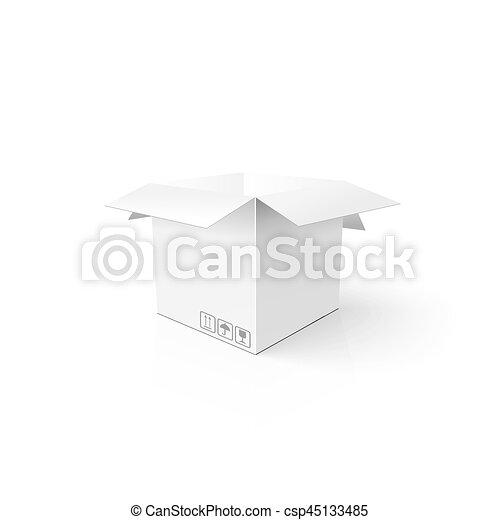 box., 開いた, package., mockup, product., テンプレート, きれいにしなさい, 白, カートン, あなたの, 3d - csp45133485