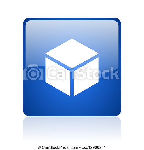 box blue square glossy web icon on white background - csp12900241