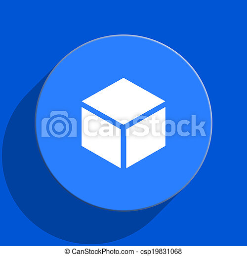 box blue web flat icon - csp19831068