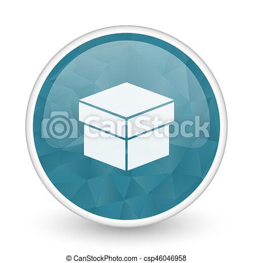 Box brillant crystal design round blue web icon. - csp46046958