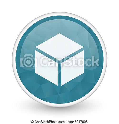 Box brillant crystal design round blue web icon. - csp46047005