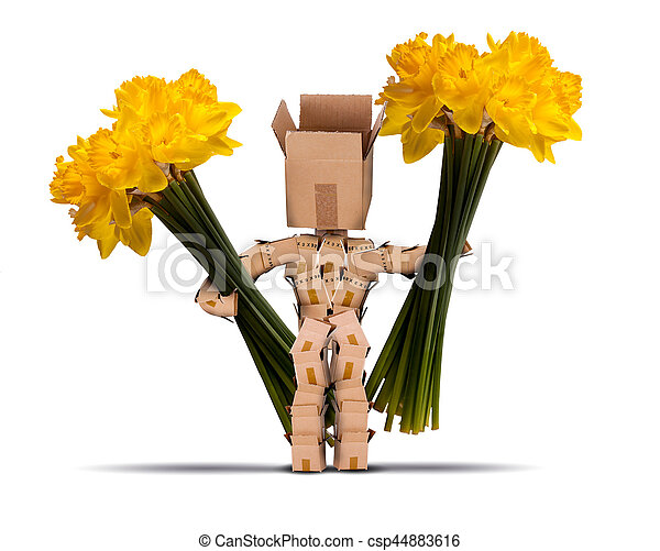 Box character holding large bunches of daffodils cut yellow flowers box character holding large bunches of daffodils csp44883616 mightylinksfo