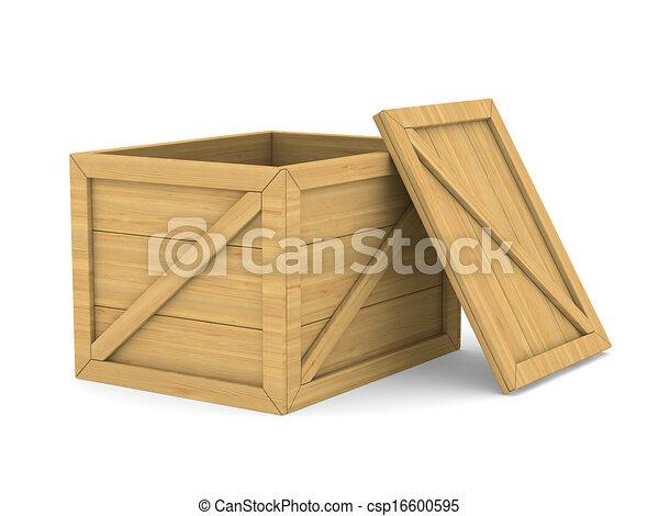 Caja de madera vacía. Imagen 3D aislada - csp16600595