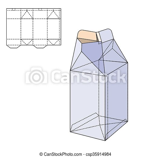 Box Die Line Vector Illustration Of Milk Or Juice Craft