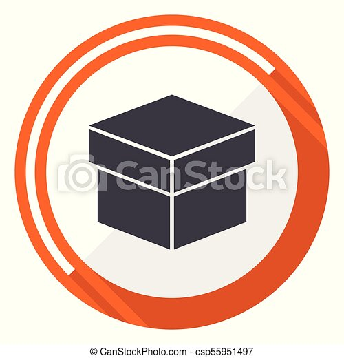 Box flat design vector web icon. Round orange internet button isolated on white background. - csp55951497
