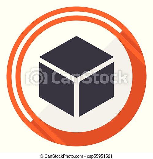 Box flat design vector web icon. Round orange internet button isolated on white background. - csp55951521