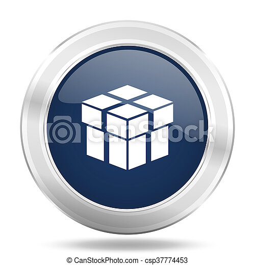 box icon, dark blue round metallic internet button, web and mobile app illustration - csp37774453