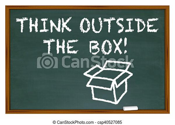 box, ilustrace, křída, mimo, deska, rozmluvy, přemýšlet, 3 - csp40527085