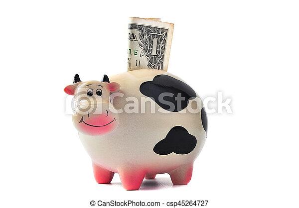 box., mucca, soldi, dollaro, 1, fondo, bianco - csp45264727