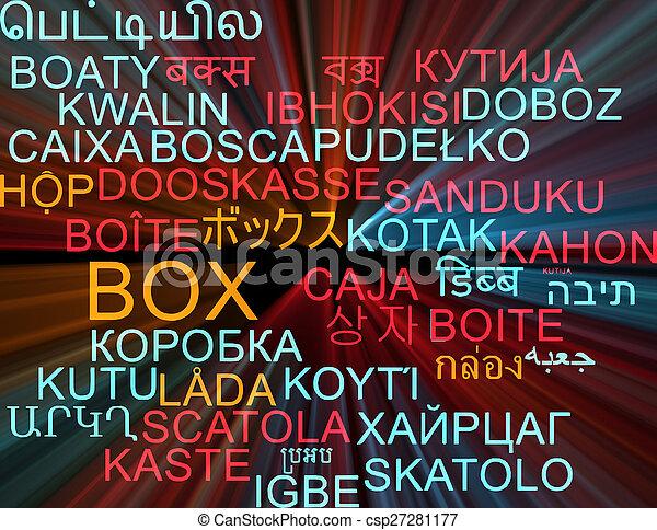 Box multilanguage wordcloud background concept glowing - csp27281177