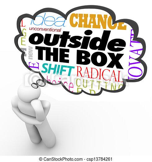 box, myslící, tvořivost, osoba, mimo, inovace - csp13784261
