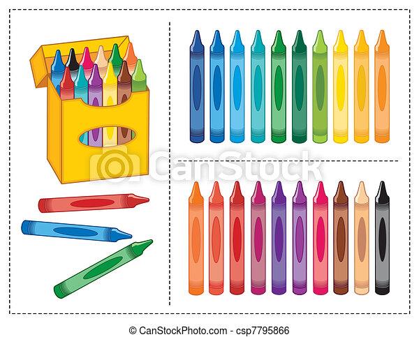 Box of Crayons, 20 Colors  - csp7795866