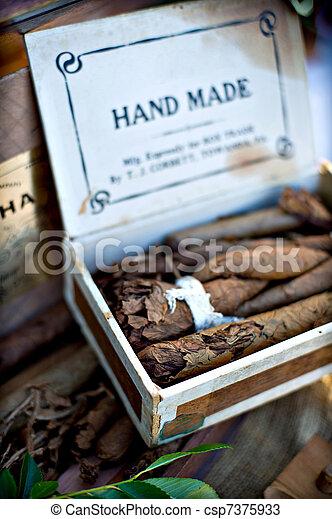 Box of hand made cigars - csp7375933