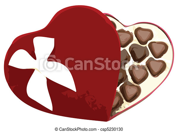 Box of Heart Shaped Chocolates Vector Illustration - csp5230130