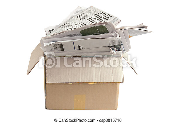 Box of Old Newspapers for Recycle - csp3816718