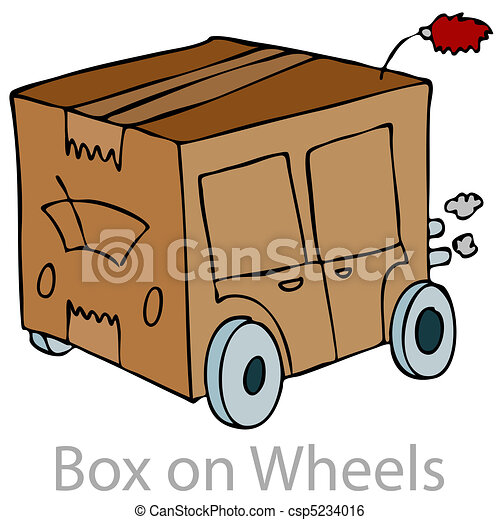 Box On Wheels An Image Of A Cardboard Box Car Clip Art Vector