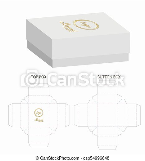 Box packaging die cut template design. 3d mock-up illustration.