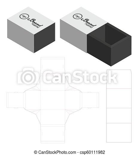 box packaging die cut template design 3d mock up