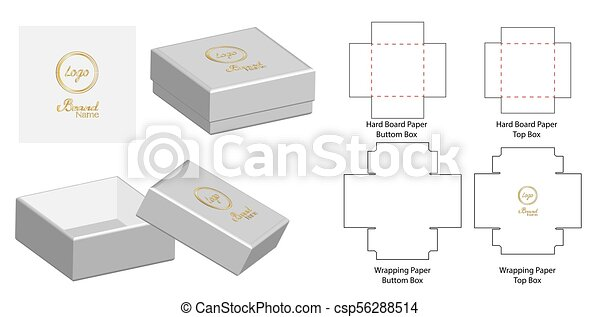 Box packaging die cut template design. 3d mock-up vector illustration.