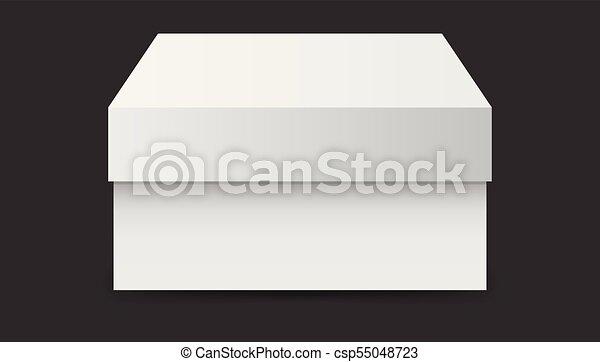 Caja blanca de cartón. Ilustración de vectores aislada en el fondo negro. - csp55048723