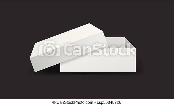 Caja blanca de cartón. Ilustración de vectores aislada en el fondo negro. - csp55048726