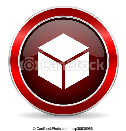 box red circle glossy web icon, round button with metallic border - csp30636985