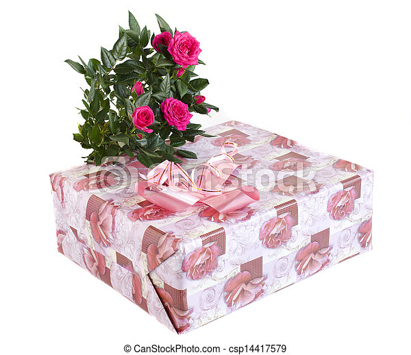 box with a gift and bouquet of roses - csp14417579