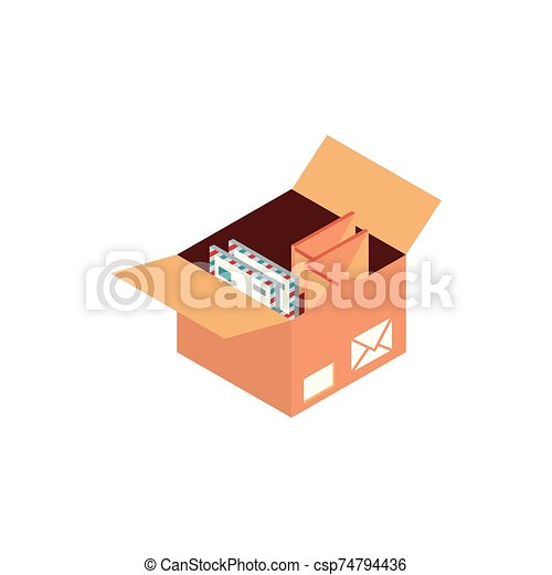 box with envelopes letters correspondence postal mail isometric - csp74794436