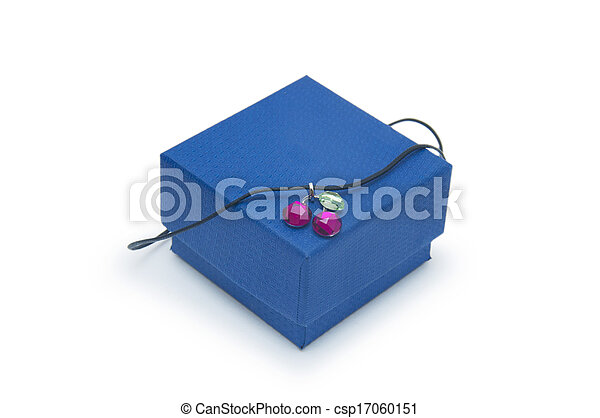 box with jewellery on the white background - csp17060151