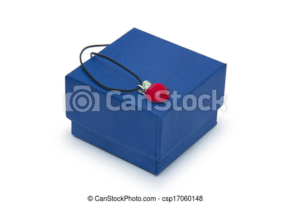 box with jewellery on the white background - csp17060148