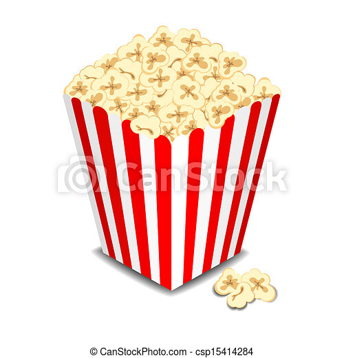 Box with popcorn, vector  - csp15414284