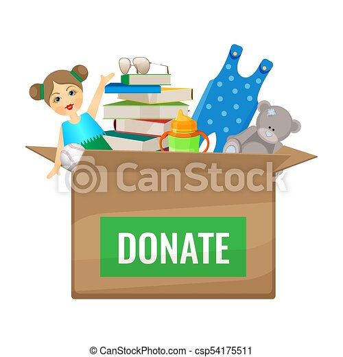 Box With Toys And Books To Donate For Children Cardboard
