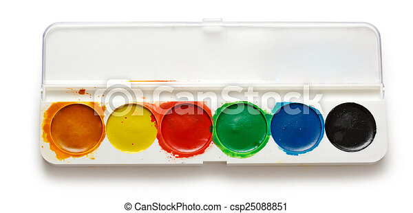 Box with water colour paints - csp25088851