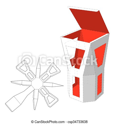 box with windows die cut template packing box for food gift or