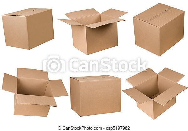 boxas, papp, öppnat, stängd - csp5197982