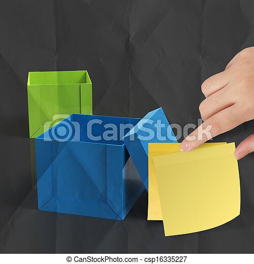 boxas, skrynkligt, tänkande, klistrig anteckning, utanför, papper - csp16335227