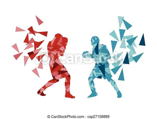boxe, baston, revêtement, autre, chaque, homme - csp27158889