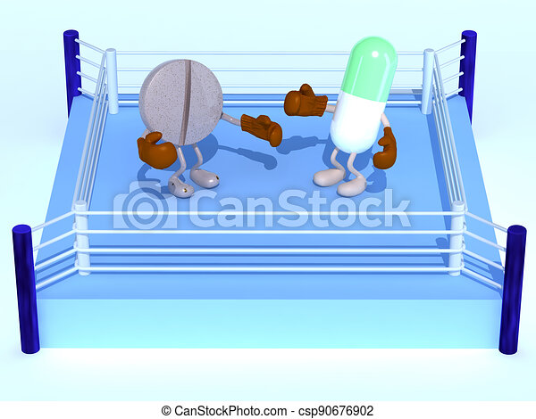 boxe ring with two pills that are fighting - csp90676902